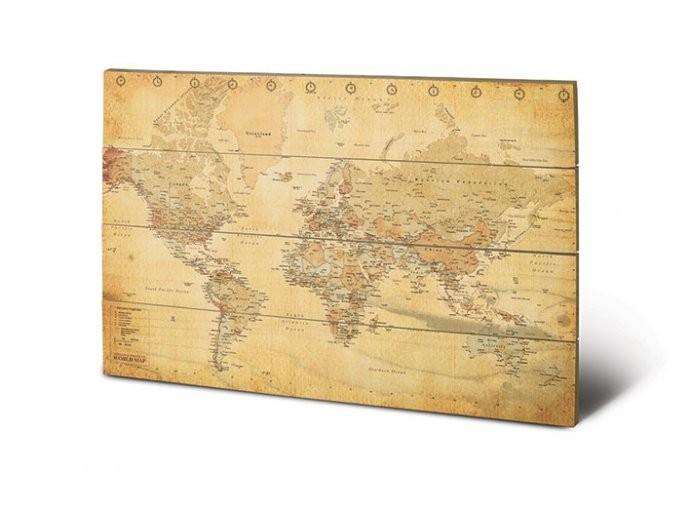 world map vintage style obraz na drewnie galeria flash. Black Bedroom Furniture Sets. Home Design Ideas